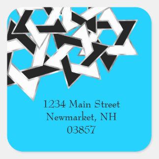 Return Address Black White Star of David Square Sticker