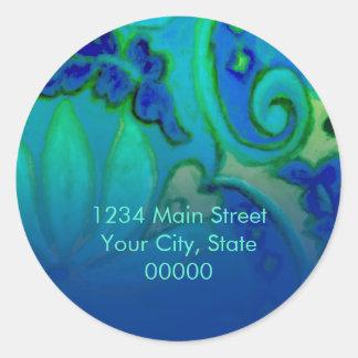 Return Address Blue and Aqua Floral Classic Round Sticker