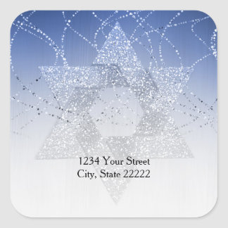 Return Address Blue Glittery Star of David Square Sticker