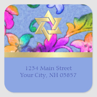 Return Address Brightly Colored Painted Damask Square Sticker