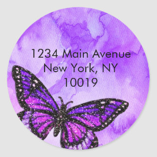 Return Address Butterfly Purple and Pink Painted Classic Round Sticker