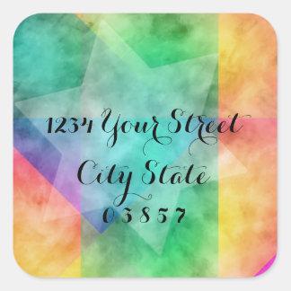 Return Address Color Block Watercolor Design Square Sticker