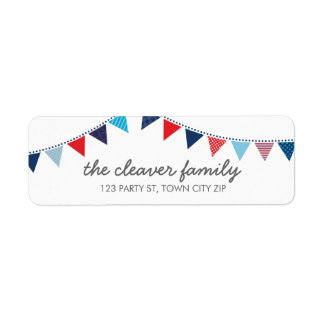RETURN ADDRESS colorful fun bunting red white blue Label