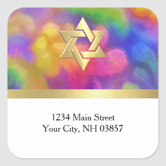 Return Address Colorful Painted Damask Any Color Square Sticker