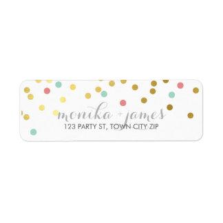 RETURN ADDRESS confetti gold mint coral chalkboard Label