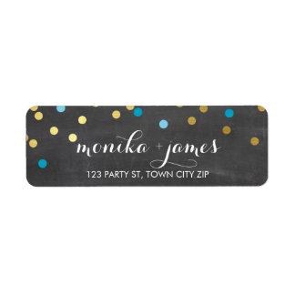 RETURN ADDRESS confetti gold turquoise chalkboard Label