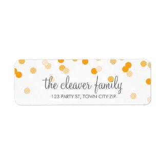 RETURN ADDRESS confetti polka dot bright orange Label
