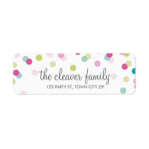 RETURN ADDRESS confetti polka dot colorful fun Custom Return Address Labels