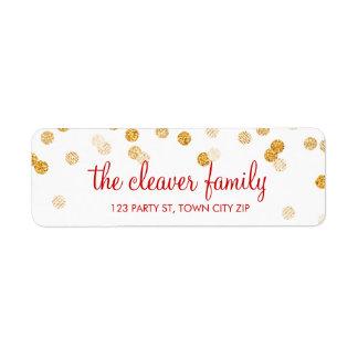 RETURN ADDRESS confetti polka dot glitter gold Label