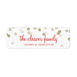 RETURN ADDRESS confetti polka dot glitter gold Label