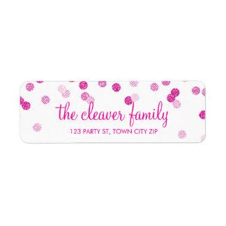 RETURN ADDRESS confetti polka dot glitter pink Label