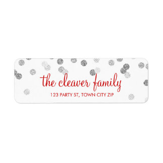 RETURN ADDRESS confetti polka dot glitter silver Label