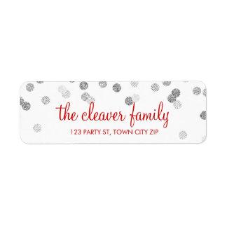 RETURN ADDRESS confetti polka dot glitter silver Return Address Label