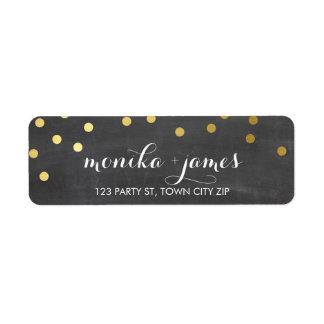 RETURN ADDRESS confetti polka dot gold chalkboard Return Address Label