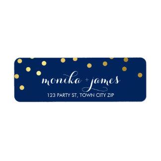 RETURN ADDRESS confetti polka dot gold navy blue Label