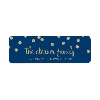 RETURN ADDRESS confetti spot glitter gold blue Label