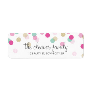 RETURN ADDRESS cute confetti polka dot colorful Label