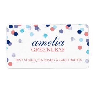 RETURN ADDRESS cute confetti polka dot coral blue Label
