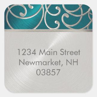Return Address Elegant Teal Blue Silver Filigree Square Sticker