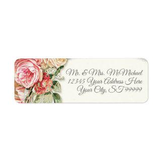 Return Address Elegant Vintage Blush Roses Floral Label