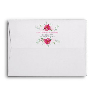 Return Address Envelope with Pink Floral Design