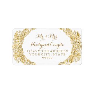 Return Address Faux Gold Glitter Engraving Label