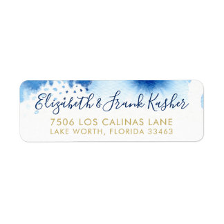 RETURN ADDRESS gold smart blue watercolor Label