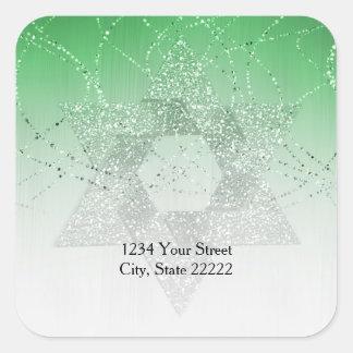 Return Address Green Glittery Star of David Square Sticker
