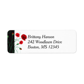 Return Address Label 2| Red Poppies | Black, Green