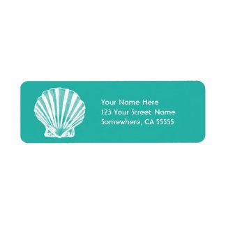 Return Address Label Aqua Sea Shell