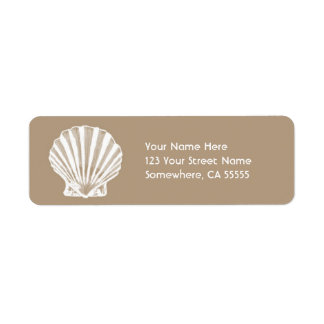 Return Address Label//Beige Sand Sea Shell Label
