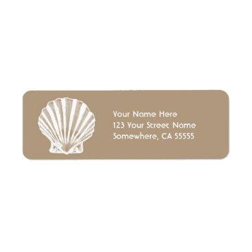 Orabella Return Address Label//Beige Sand Sea Shell Label
