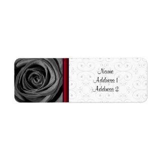 Return Address Label Black Rose
