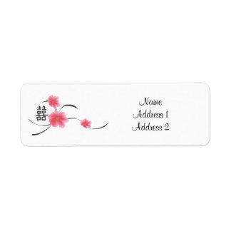 Return Address Label Cherry Blossom Double Happine