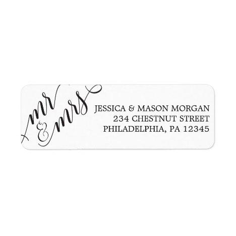 Return Address Label Classic Script Mr & Mrs