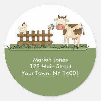 Return Address Label Home Sweet Farm Envelope seal Classic Round Sticker