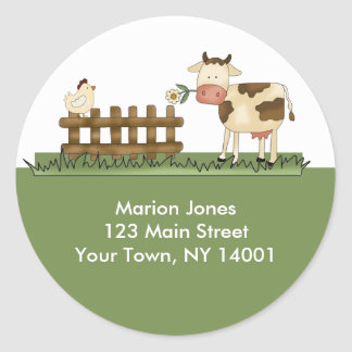 Return Address Label Home Sweet Farm Envelope seal Classic Round Sticker