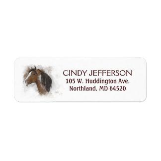 Return Address Label - Horse Head Brown & White