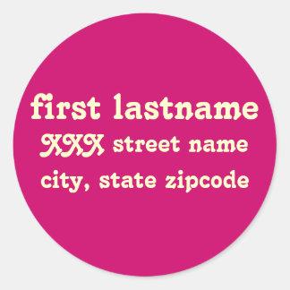 return address label - personalize classic round sticker