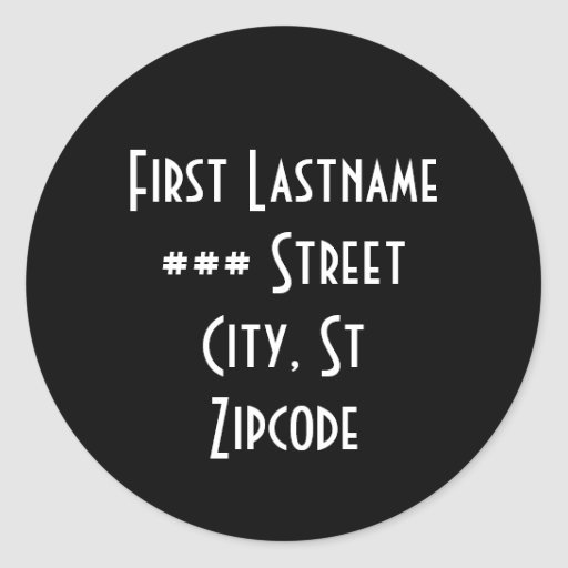 return address label - personalize info classic round sticker