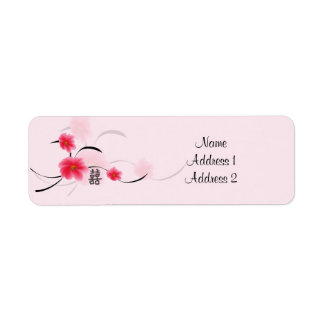 Return Address Label Pink Blossom Double Happiness