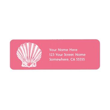 Beach Themed Return Address Label//Pink Sea Shell Label