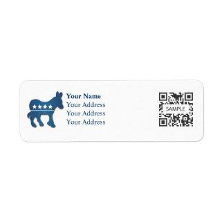 Return Address Label Political Democrat Donkey