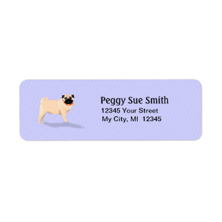 Return Address Label - Pug Dog - Light Blue