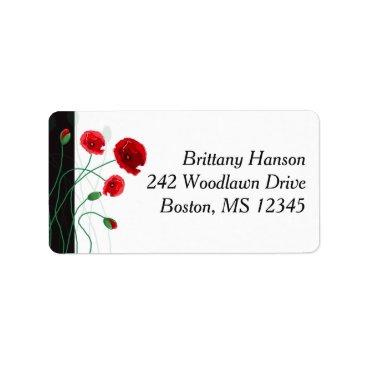 Return Address Label | Red Poppies | Black, Green