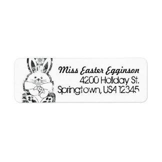 Return Address Label, Retro Easter Bunny Grungy Label