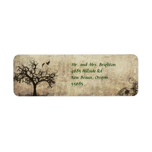 Return Address Label with Birds and Tree Avery Lab