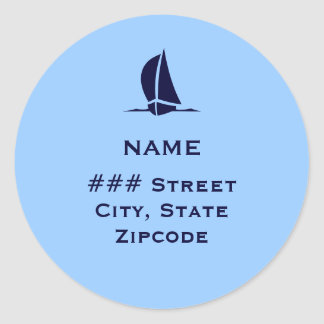 Return address label with boat classic round sticker