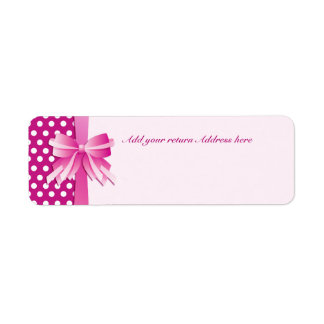 Return Address Label with Pink Polka Dots and Bow