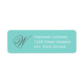 Return Address Labels | Aqua Blue, White, Gray